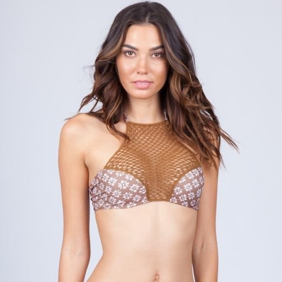 Acacia Swimwear Swim Acacia Daisy Panama Crochet Halter Bikini Top
